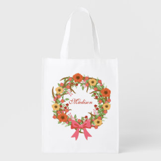 Autumn Beauty Wreath Reusable Grocery Bag