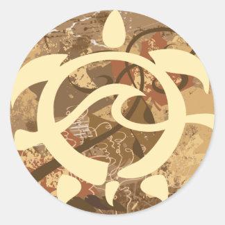 Autumn-BG-Turtle Classic Round Sticker