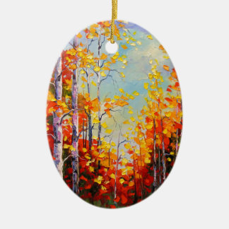 Autumn birches ceramic oval decoration