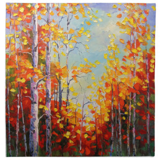 Autumn birches napkin