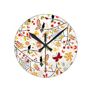 autumn birds round clock