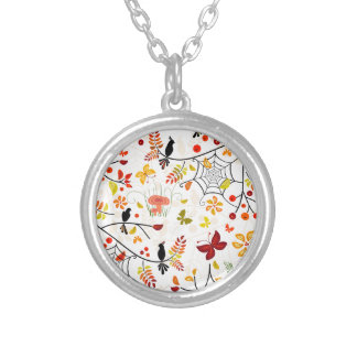 autumn birds silver plated necklace