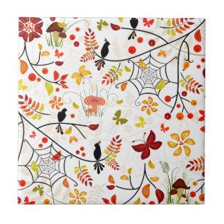 autumn birds tile
