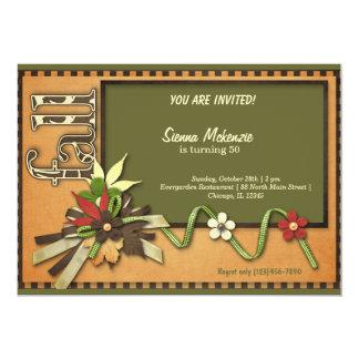 "Autumn Birthday 5"" X 7"" Invitation Card"