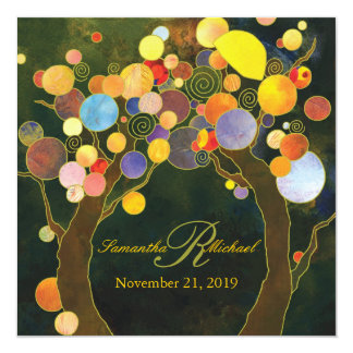 Autumn Bliss Tree Theme Monogram Wedding 13 Cm X 13 Cm Square Invitation Card