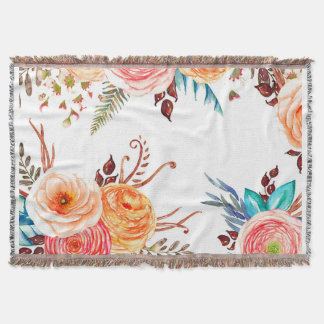 """Autumn Blooms"" Cozy Throw Blanket"