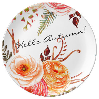"""""""Autumn Blooms"""" Decorative Holiday Plate"""