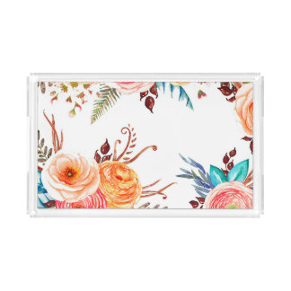 """""""Autumn Blooms"""" Holiday Serving Tray"""
