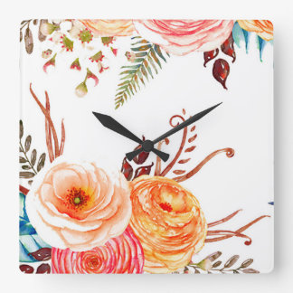 """Autumn Blooms"" Square Wall Clock"