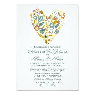 Autumn Boho Floral Heart Fall Wedding Invitations