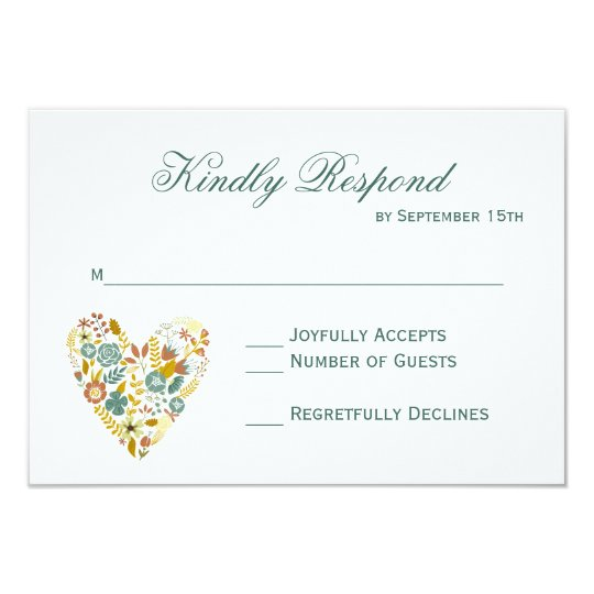 Autumn Boho Floral Heart Fall Wedding RSVP Cards