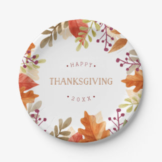 Autumn Bounty | Happy Thanksgiving Paper Plate