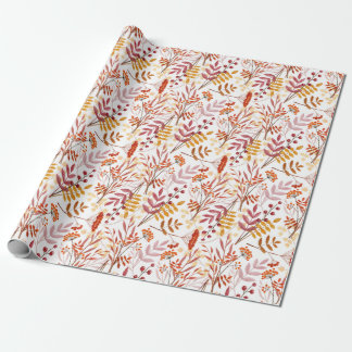Autumn bouquets watercolor pattern wrapping paper