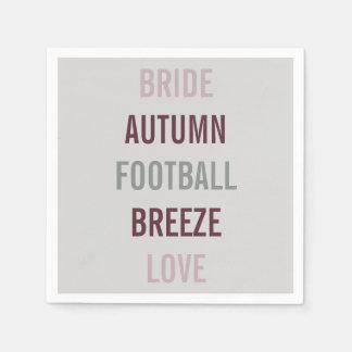 Autumn Bride Love Fall Tailgate Party Napkins Paper Napkins