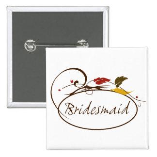 Autumn Bridesmaid 15 Cm Square Badge