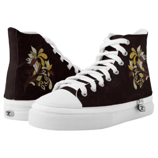 Autumn Brown with Bold Leafy Accents High Tops