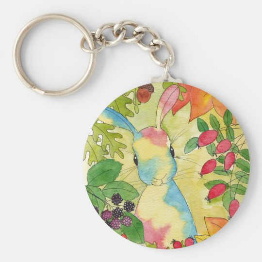 Autumn Bunny by Peppermint Art Basic Round Button Key Ring