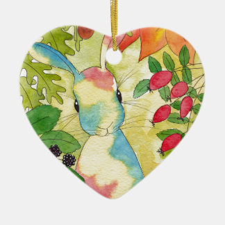 Autumn Bunny by Peppermint Art Ceramic Heart Decoration