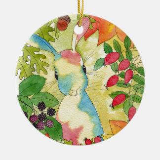Autumn Bunny by Peppermint Art Christmas Ornament