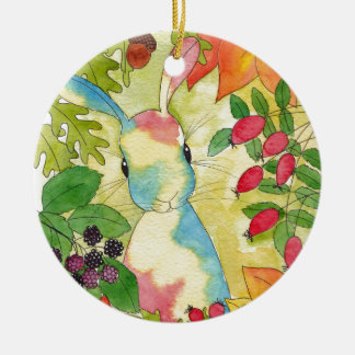 Autumn Bunny by Peppermint Art Round Ceramic Decoration