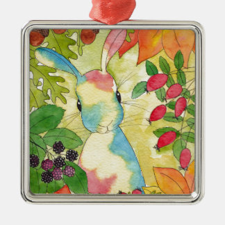 Autumn Bunny by Peppermint Art Silver-Colored Square Decoration