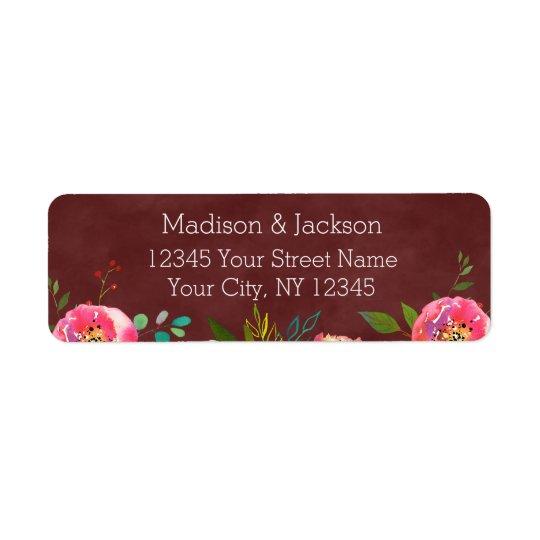 Autumn Burgundy Floral Wedding Return Address Return Address Label