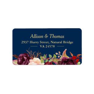 Autumn Burgundy Marsala Floral Navy Blue Wedding Address Label