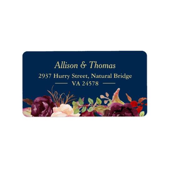 Autumn Burgundy Marsala Floral Navy Blue Wedding Address
