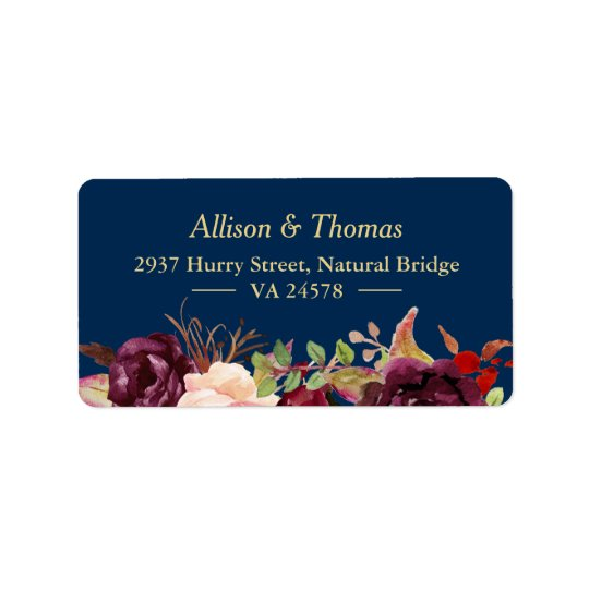 Autumn Burgundy Marsala Floral Navy Blue Wedding Label