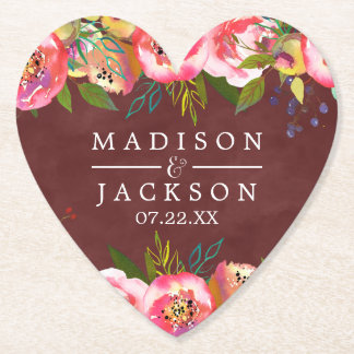 Autumn Burgundy Watercolor Floral Monogram Wedding Paper Coaster