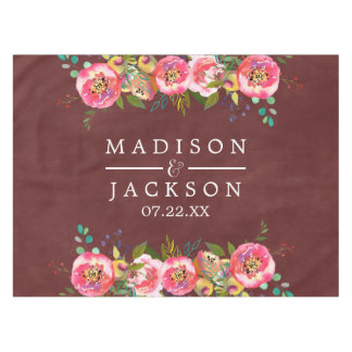 Autumn Burgundy Watercolor Floral Wedding Monogram Tablecloth