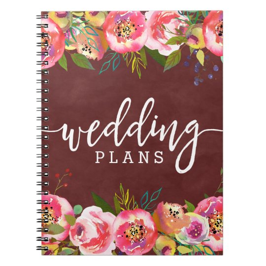 Autumn Burgundy Watercolor Floral Wedding Planner Notebook