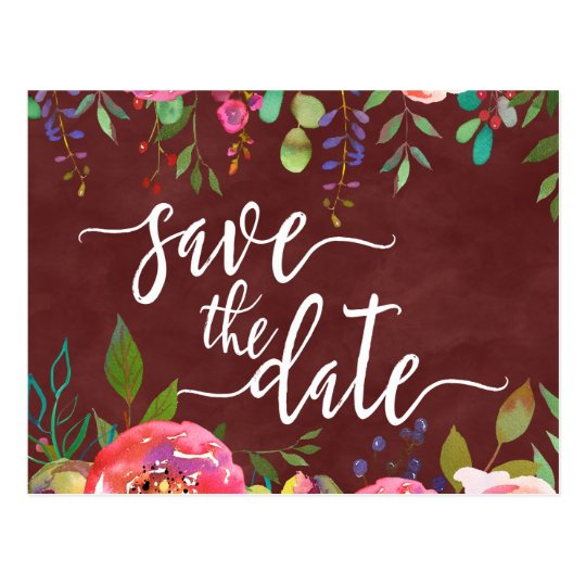Autumn Burgundy Watercolor Wedding Save the Date Postcard
