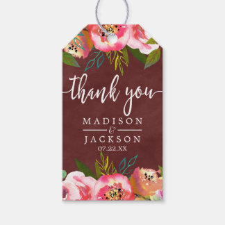 Autumn Burgundy Watercolor Wedding Thank You Gift Tags