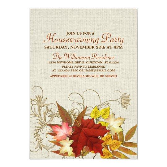 Autumn Burlap & Leaves Housewarming Invitation