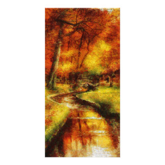Autumn - By a little bridge - Painting Customized Photo Card