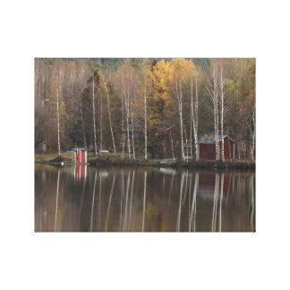 Autumn by river Kemijoki in Lapland Canvas Print