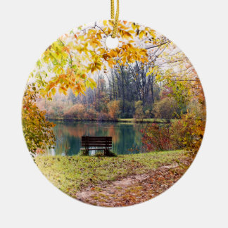 Autumn by the Park Pond - Fall Leaves Round Ceramic Decoration