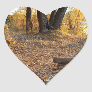 Autumn by the River Heart Sticker