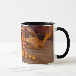 Autumn Candle Over Wooden Background Mug