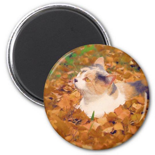 autumn cat 6 cm round magnet