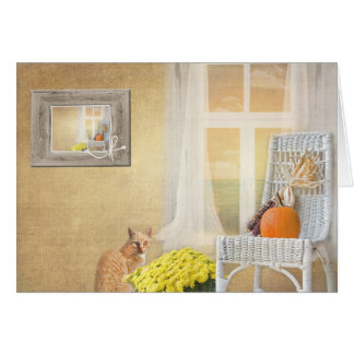 autumn cat with window-thinking of you card