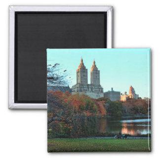 Autumn: Central Park Lake, San Remo Square Magnet