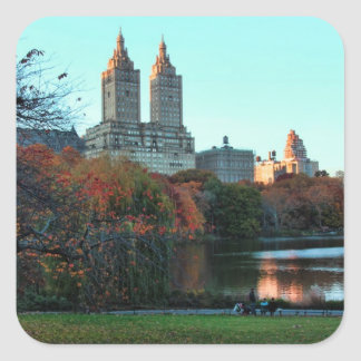 Autumn Central Park Lake San Remo Square Stickers