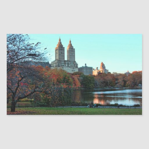 Autumn: Central Park Lake, San Remo Rectangle Stickers