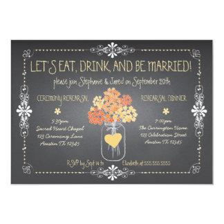 Autumn Chalkboard Wedding Rehearsal Mason Jar Card