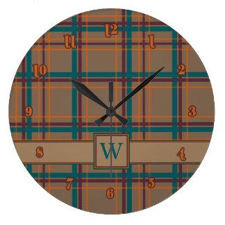 Autumn Chic Plaid Clock