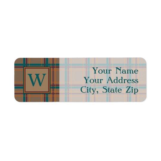 Autumn Chic Plaid Return Address Label