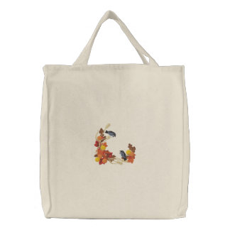 Autumn Chickadees Embroidered Bag