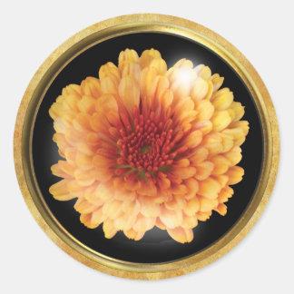 Autumn Chrysanthemum Peach Classic Round Sticker